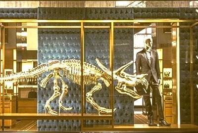 Gold DInosaur in the Louis Vuitton store Window in NYC